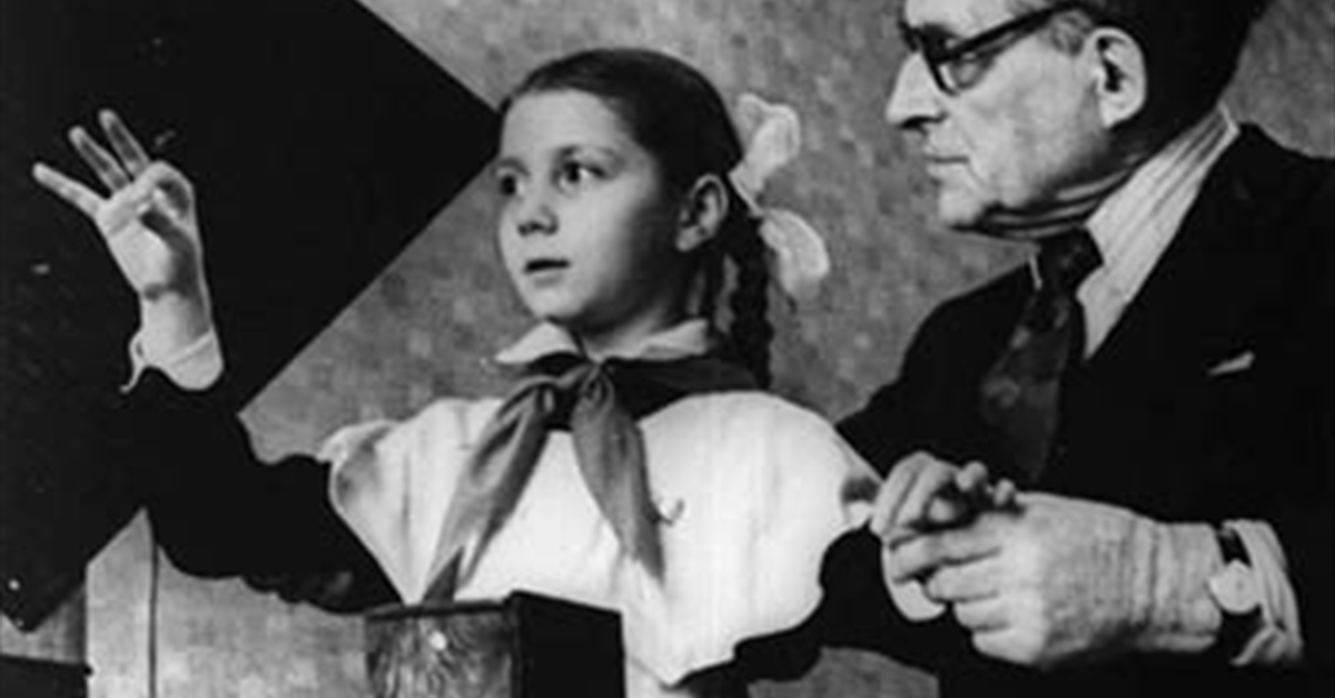 Lydia Kavina with inventor Leon Theremin